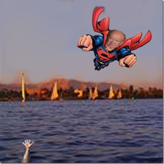Superman flying over Nile to save Egypt