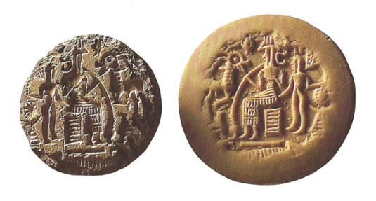 Enki God of Heaven and Earth and his antelope having a beer with a friend in Ancient Dilmun or Bahrain