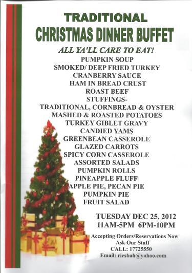 ric country kitchen christmas 2012 menu