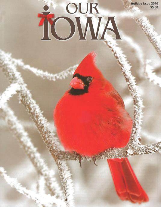 Our Iowa magazine with cardinal in winter on front