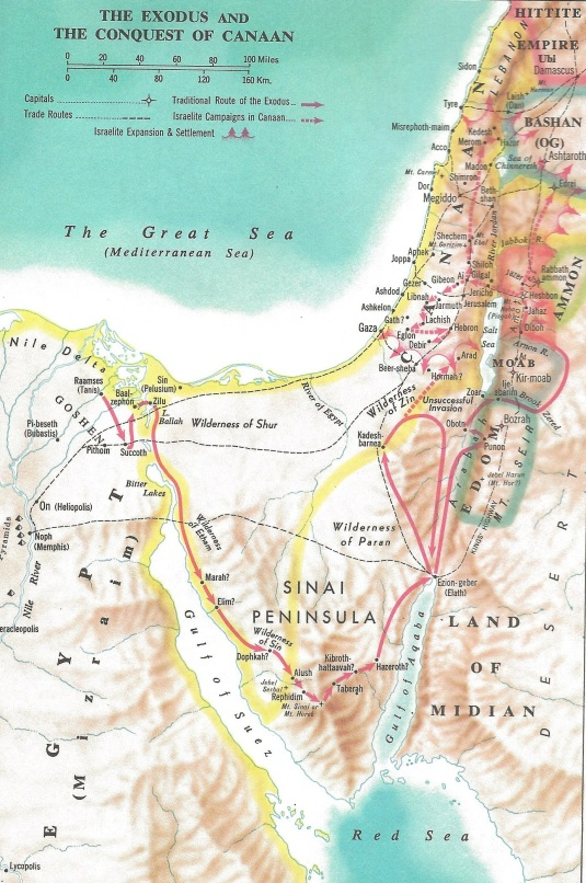 Biblical map of Jordan king's highway petra