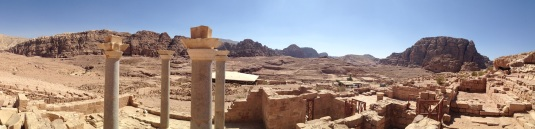 Petra Panorama behind blue church Jordan by eva the dragon 2013