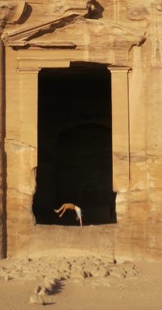 man flip monastery petra jordan 1
