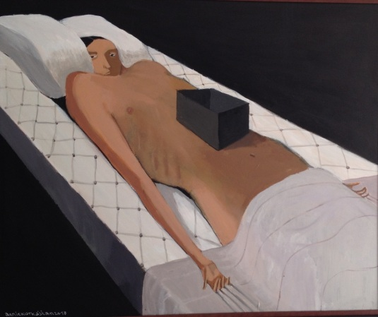 annie kurkdjian #art woman in bed with black box 2013